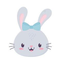 Cute girl rabbit face with bow animal cartoon vector