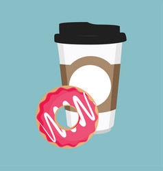 disposable coffee cup icon with pink sweet donut vector image