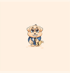 Dog cub in business suit extend hand to offer deal vector
