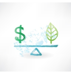 Dollar eco balance grunge icon vector