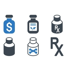 Drugs Vial Flat Icons vector image