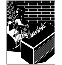 electric guitar and guitar amplifier vector image