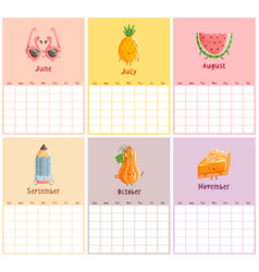 Endless calendar template second half vector