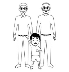 Family grandparents and grandson cartoons in black vector