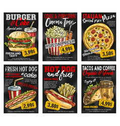 Fast food restaurant menu price card on blackboard vector