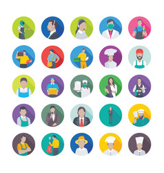 flat icons pack of professions vector image