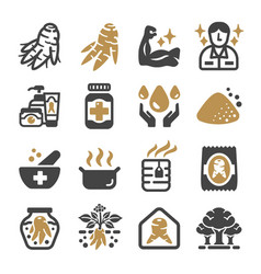 ginseng icon set vector image