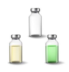 Glass medicine vials vector