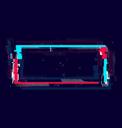 Glitch rectangle frame in neon color distorted vector