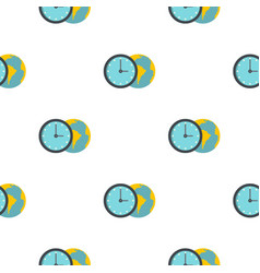 Globe and clock pattern flat vector