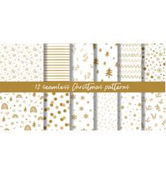gold christmas pattern set golden christmas vector image