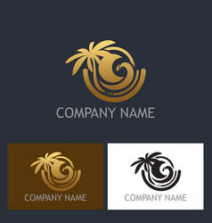Gold palm tree tropic logo vector