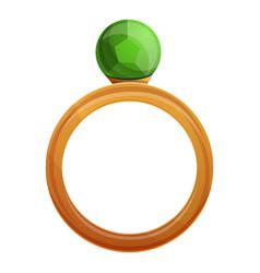 green gemstone ring icon cartoon style vector image