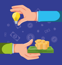 hands with set icons economy finance vector image