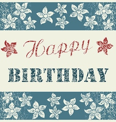 Happy Birthday Card with floral composition on vector