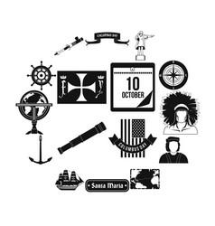 happy columbus day icons vector image