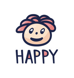 happy man character head design cartoon hand vector image