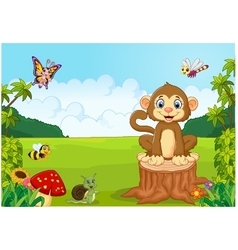 Happy monkey in the forest vector image
