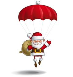 Happy Santa Parachute Sack of Gifts vector image