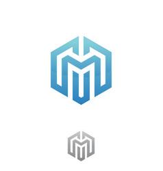 hexagon letter m vector image