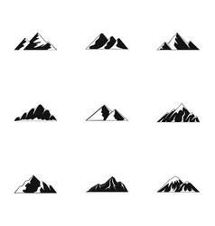 Highland icons set simple style vector