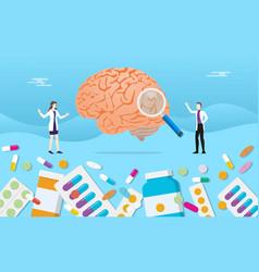 Human brain medicine health pills drug capsule vector