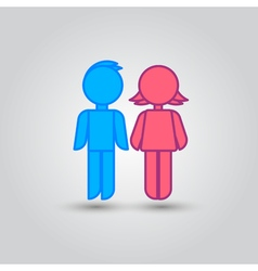 Icon blue stick figure man male and pink women vector