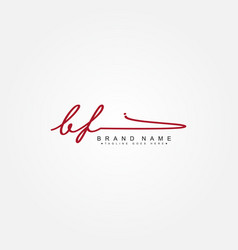 Initial letter bf logo - hand drawn signature logo vector