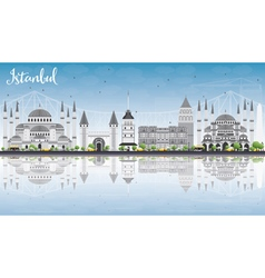 Istanbul Skyline with Gray Landmarks vector