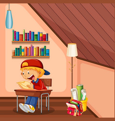 kid doing homework in room with bag and books vector image