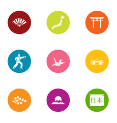 life in japan icons set flat style vector image