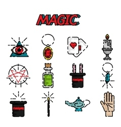 Magic flat icon set vector image