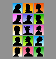 Male Avatar Silhouettes Set vector