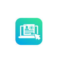 Medical history online services icon vector