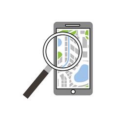 mobile phone navigator map magnifier app vector image