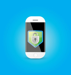 mobile security app screen with shield and lock vector image
