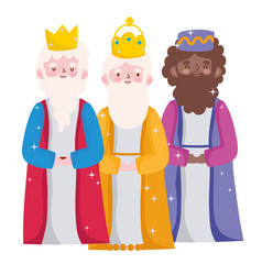 Nativity three wise kings characters manger vector