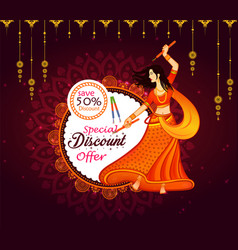 navratri big sale offer background vector image