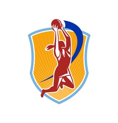 Netball Player Rebound Ball Retro vector