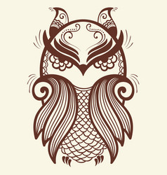 Of owl mehndi ornament traditional vector