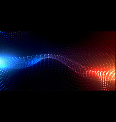 Particles background with blue and orange lights vector