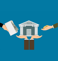 people invest or deposit money in a bank vector image