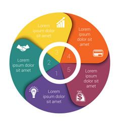 pie chart diagram five positions vector image