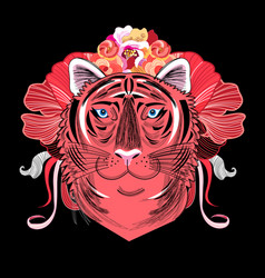 Portrait a red tiger vector