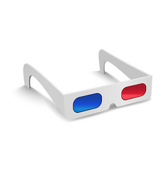 Realistic detailed 3d anaglyph cinema glasses vector