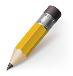 realistic pencil icon on white background vector image