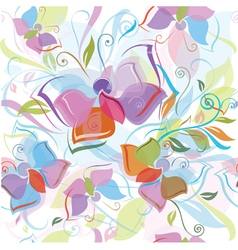 Seamless pattern flora and butterfly vector