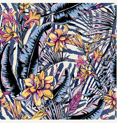 seamless pattern tropical leaves exotic vector image