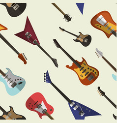 set bright electric guitars pattern vector image
