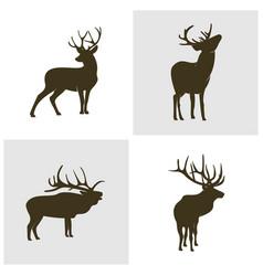 set deer logo design icon symbol deer deer vector image